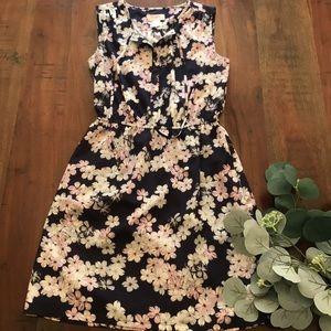 LOFT Sleeveless Tie Neck Dress in Floral